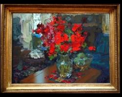 Tablou Pictura cu flori de muscate in vaza, tablou cu buchet de flori, tablouri cu aranjamente florale, tablouri cu flori de camp, picturi florale