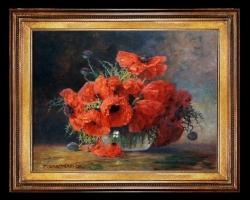 Tablou Pictura cu flori, pictura cu flori salbatice,  tablou picturi cu maci, picturi cu flori de maci pictura cu flori de mac, tablouri cu maci rosii