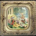 Tablou Rococo, Tablou cu oameni in parc, , Tablou cu peisaj de vara, tablou cu rau, tablou lac langa padure, peisaj din natura, tablou cu nobili