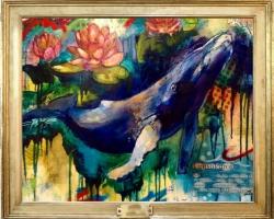 Tablou abstract cu balena, tablou cu floare de lotus, tablou multicolor, tablou cu animale salb