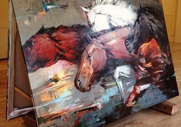 Tablou abstract cu cai, tablou cu animale salbatice, tablouri cu animale pictate, tablou