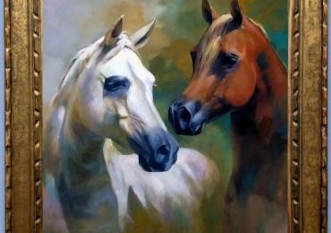 Tablou abstract cu cai,  tablou cu animale salbatice, tablouri cu animale pictate, tablo