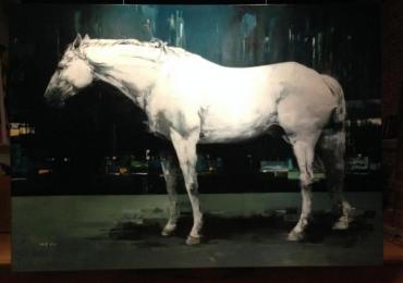 Tablou armasar alb, tablou abstract, tablou cu animale salbatice, tablouri cu animale