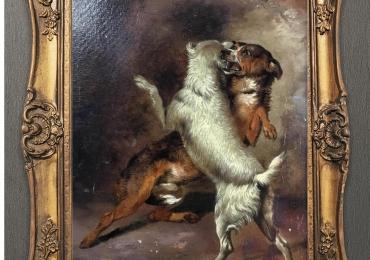 Tablou bataie intre caini, tablou cu animale salbatice, tablouri cu animale pictate, tabl