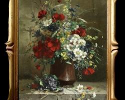 Tablou buchet de flori, Tablou cu flori de maci rosii in vaza, tablou cu aranjament floral cu flori de mac, Tablou floral, aranjamente  florale