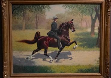 Tablou calare pe un cal brun, tablou peisaj de vara, tablou cu animale salbatice, tablo