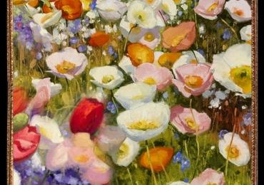 Tablou camp cu maci multicolori, Tablou cu tema abstracta, tablou inmpresionist, tablou sufragerie, tablou dimensiune mare, tablou cu flori