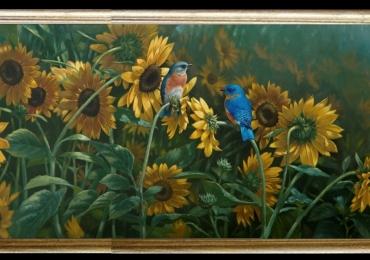 Tablou camp de floarea soarelui, Tablou modern, tablou decorativ, tablou sufragerie, tablou dimensiune mare, tablou cu flori galbene