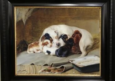 Tablou catea fox terrier cu puii, tablou cu animale salbatice, tablouri cu animale picta