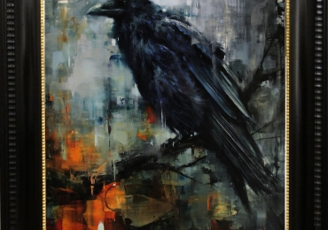Tablou corb negru, tablou absytact modern, tablou cu animale salbatice, tablouri cu a