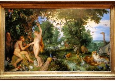 Tablou cu Adam si Eva in gradina raiului,  tablou cu animale salbatice, tablouri cu an