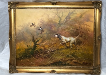 Tablou cu Brac german la vanatoare de prepelite, tablou cu animale salbatice, tablour