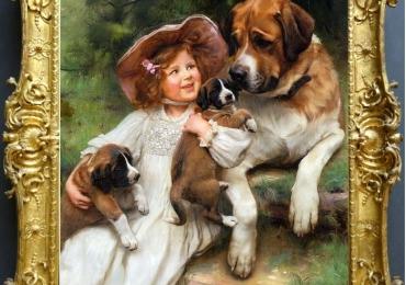Tablou cu Saint Bernard si stapana lui, tablou cu animale salbatice, tablouri cu anima