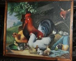 Tablou cu animale domestice de curte, tablou cu cocs  gaini si pui de rataTablou natura moarta, tablou natura statica cu vulpe