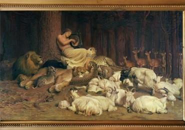 Tablou cu animale salbatice si domestice ascultand cantecul,  tablou cu animale salba