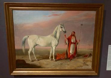 Tablou cu  arab si armasarul sau alb, tablou cu animale salbatice, tablouri cu animale