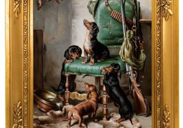 Tablou cu arma de vanatoare si caini Teckel, tablou cu animale salbatice, tablouri cu