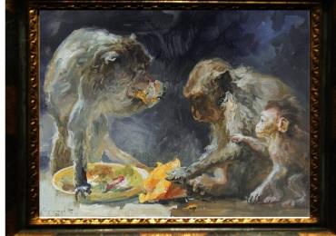 Tablou cu babuini, tablou cu animale exotice,  tablou cu animale salbatice, tablouri c
