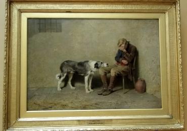 Tablou cu barbat care plange si cainele sau loial, tablou cu animale salbatice, tablouri