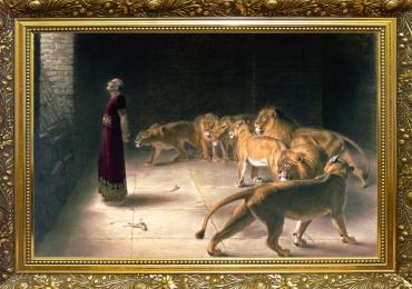 Tablou cu barbat inconjurat de lei, Daniel in the Lions tablou cu animale salbatice, ta
