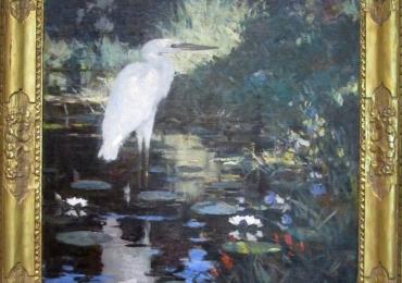 Tablou cu barza in lacul cu nuferi, peisaj de vara, tablou cu animale salbatice, tablour