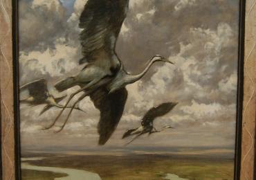 Tablou cu berze in zbor, tablou cu peisaj de primavara, tablou cu animale salbatice, ta