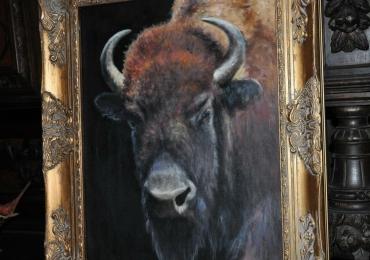 Tablou cu bizon, tablou cu animale salbatice, tablouri cu animale pictate, tablouri cu