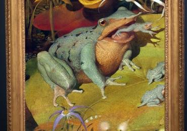 Tablou cu broasca si pui de broasca, tablou cu animale salbatice, tablouri cu animale