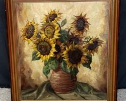 Tablou cu buchet de floarea soarelui in vas de lut, natura moarta, tablou pictat manual in ulei pe