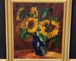 Tablou cu buchet de floarea soarelui in vas de sticla, natura moarta, tablou pictat manual in ulei