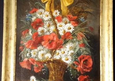 Tablou cu buchet de flori de camp in cos impletit din nuiele natura moarta, tablou pictat manual in ulei pe panza