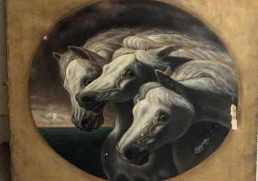 Tablou cu cai albi, tablou cu trei cai, tablou cu animale salbatice, tablouri cu animale