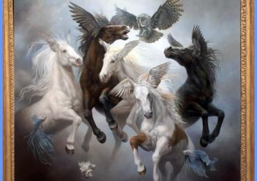 Tablou cu cai fantastici, tablou abstract, tablou rurrealist,  tablou cu animale salbatice