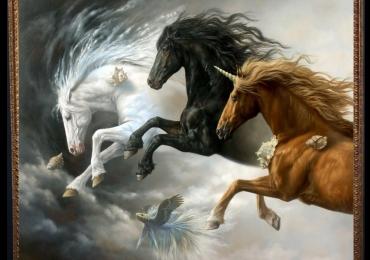 Tablou cu cai fantastici, tablou cu inorog, tablou abstract modern realist