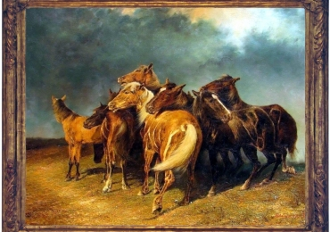 Tablou cu cai in furtuna, tablou cu animale salbatice, tablouri cu animale pictate, tabl