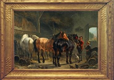 Tablou cu cai intr-un peisaj pastoral, tablou cu ingrijitor de cai, tablou cu animale sal