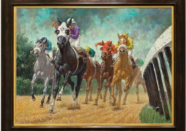 Tablou cu cai pe hipodrom, tablou cu animale salbatice, tablouri cu animale pictate, t