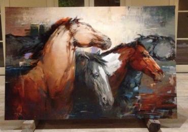 Tablou cu cai, tablou abstract cu cai, tablou cu animale salbatice, tablouri cu animale