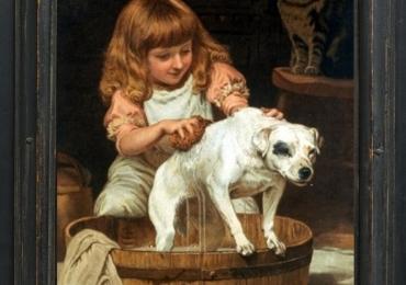 Tablou cu  caine alb la imbaiere, tablou cu fetita in fata ciubarului, tablou cu animale