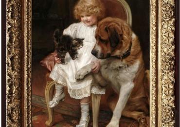 Tablou cu caine si pisica impreuna cu stapana lor, tablou cu animale salbatice, tablou