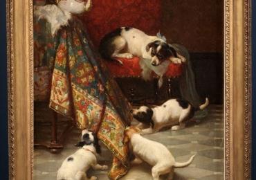 Tablou cu caini care se joaca, tablou cu animale salbatice, tablouri cu animale pictate