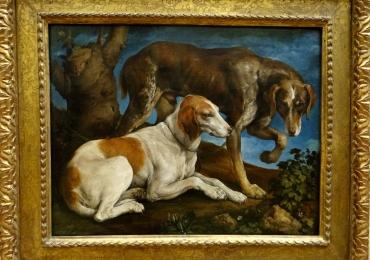 Tablou cu caini de vanatoare, Jacopo Bassano, Two Hounds Tied to a Tree, tablou cu
