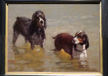Tablou cu caini de vanatoare in apa, tablou cu cani beagle, tablou cu animale salbatic