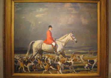 Tablou cu caini de vanatoare si calaret in saua unui armasar alb, tablou cu animale sa