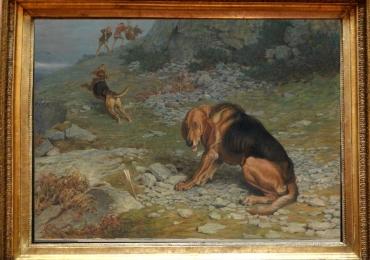 Tablou cu caini de vanatoare, tablou cu scena vanatoreasca, tablou cu animale salbati