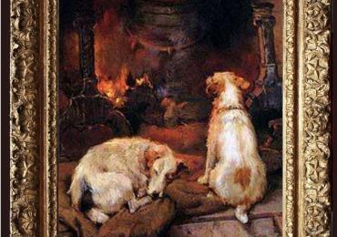 Tablou cu caini in fata semineului, tablou cu animale salbatice, tablouri cu animale pi