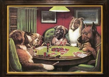Tablou cu caini jucand poker, tablou cu animale salbatice, tablouri cu animale pictate