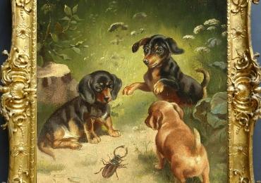 Tablou cu caini si carabus, tablou cu animale salbatice, tablouri cu animale pictate, ta