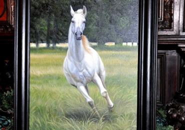 Tablou cu cal alb alegrand in iarba verde, tablou cu animale salbatice, tablouri cu ani