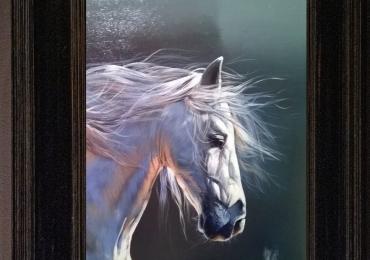 Tablou cu cal alb, tablou cu animale salbatice, tablouri cu animale pictate, tablouri cu